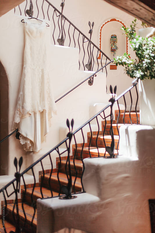 Wedding Dress in Beautiful Vintage Stairwell by B. Harvey for Stocksy United