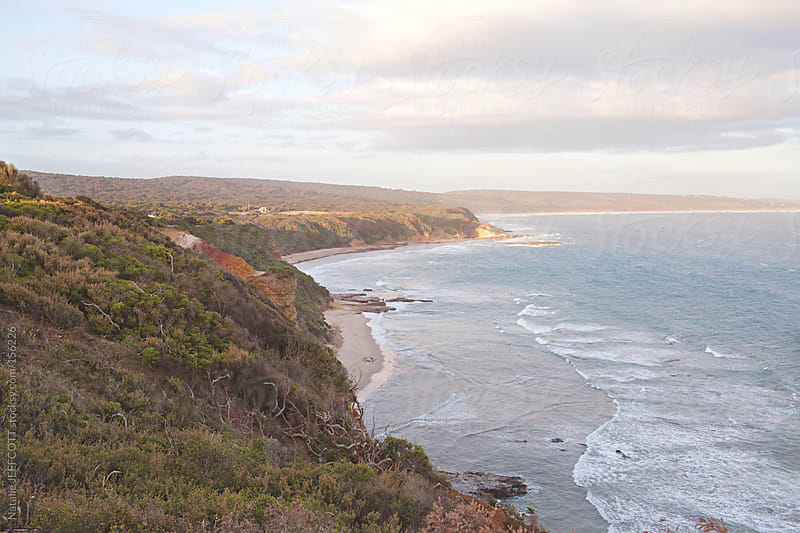 wide view overlooking the ocean from cliff top walk by Natalie JEFFCOTT for Stocksy United