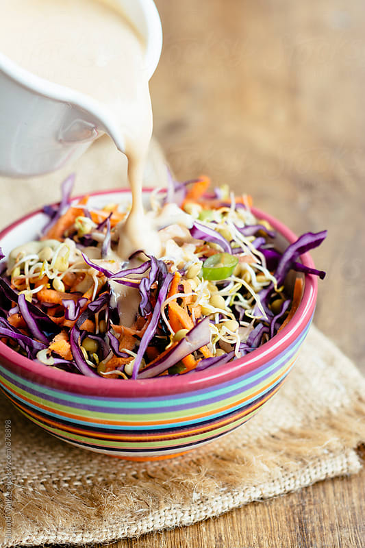 Winter Slaw with Sprouted Lentils by Harald Walker for Stocksy United