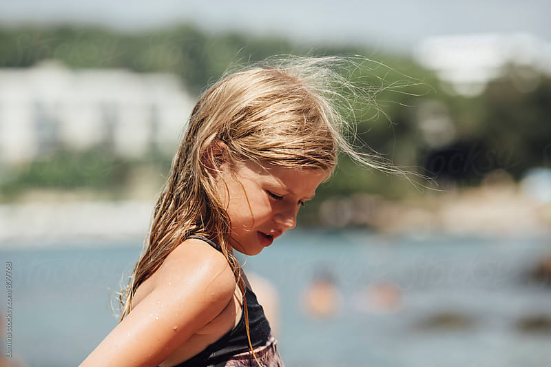 Portrait of a Little Girl in Swimwear by Lumina for Stocksy United
