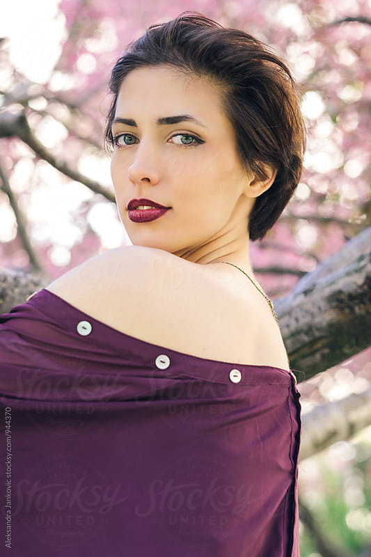 Portrait of Sensual Brunette Woman in the Springtime by Aleksandra Jankovic for Stocksy United