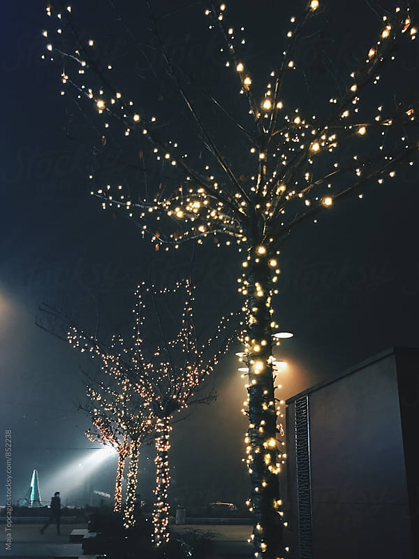 Street decorations for New Year at night  by Maja Topcagic for Stocksy United