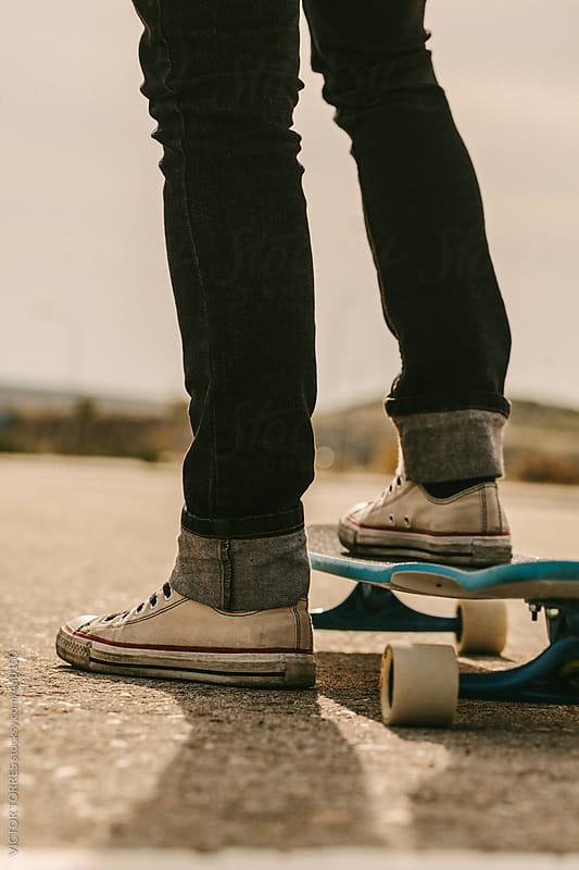 Close up of a Young Skater's Feet by VICTOR TORRES for Stocksy United