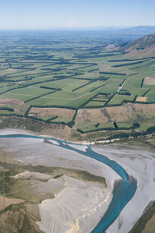 The Rakaia River and Canterbury Plains, looking south, South Island, New Zealand. by Thomas Pickard for Stocksy United