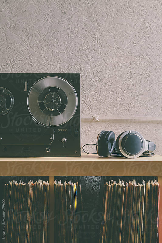 headphones and tape machine by kkgas for Stocksy United