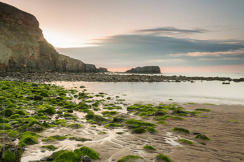 Saltwick Bay Beach at Sunset by Marilar Irastorza for Stocksy United