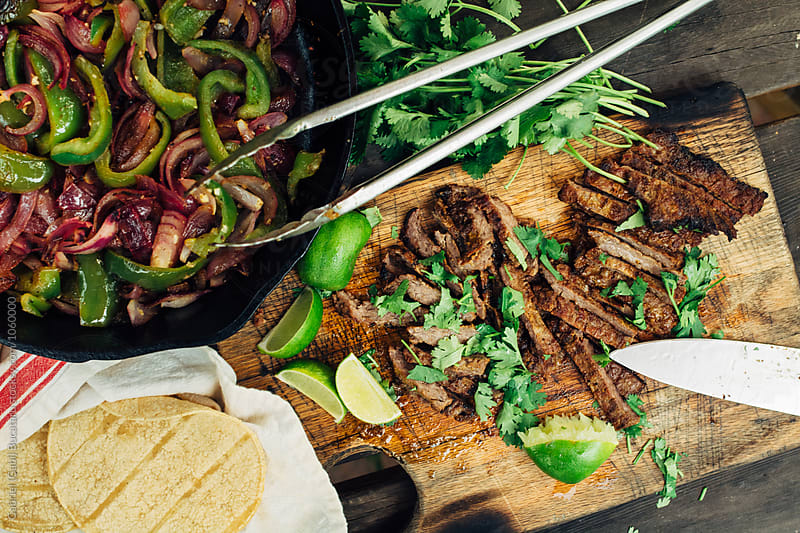 Grilled beef fajitas by Gabriel (Gabi) Bucataru for Stocksy United