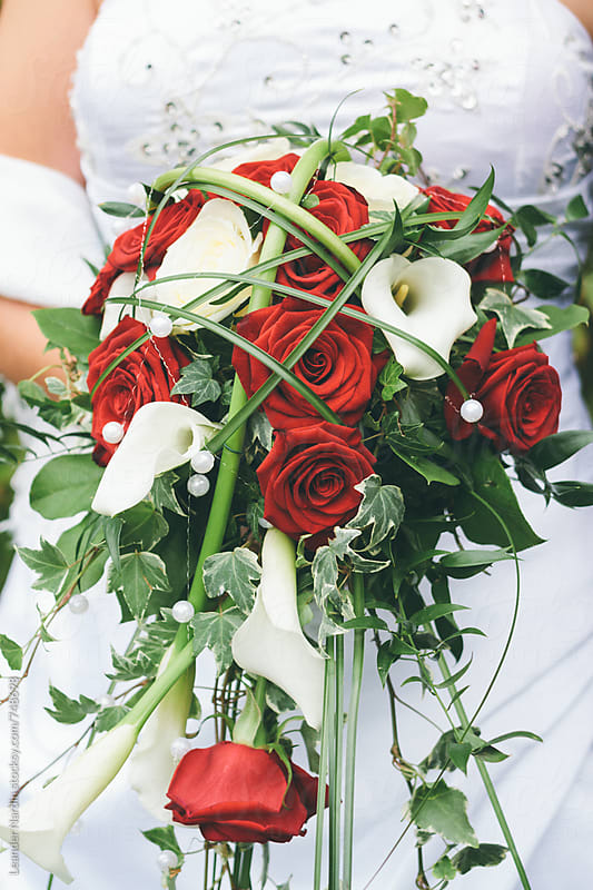 close up of a bride holding her colorful bridal bouquet with red roses by Leander Nardin for Stocksy United