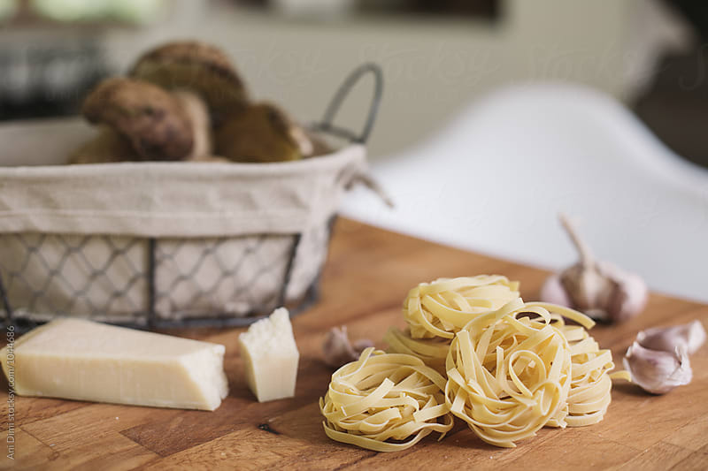 Ingredients for porcini pasta  by Ani Dimi for Stocksy United