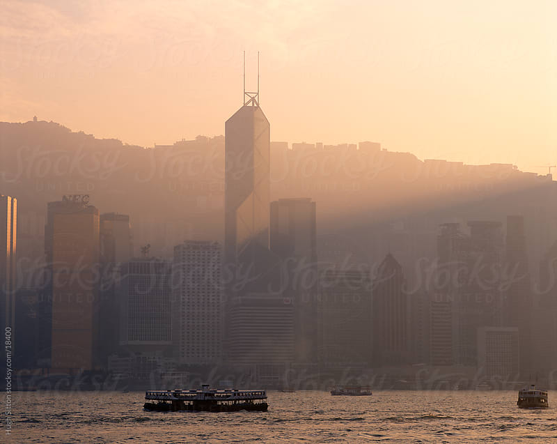 View across the Hong Kong harbour. Hong Kong. China by Hugh Sitton for Stocksy United
