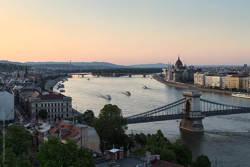 Panorama of Budapest (Hungary) at dusk by Tom Uhlenberg for Stocksy United