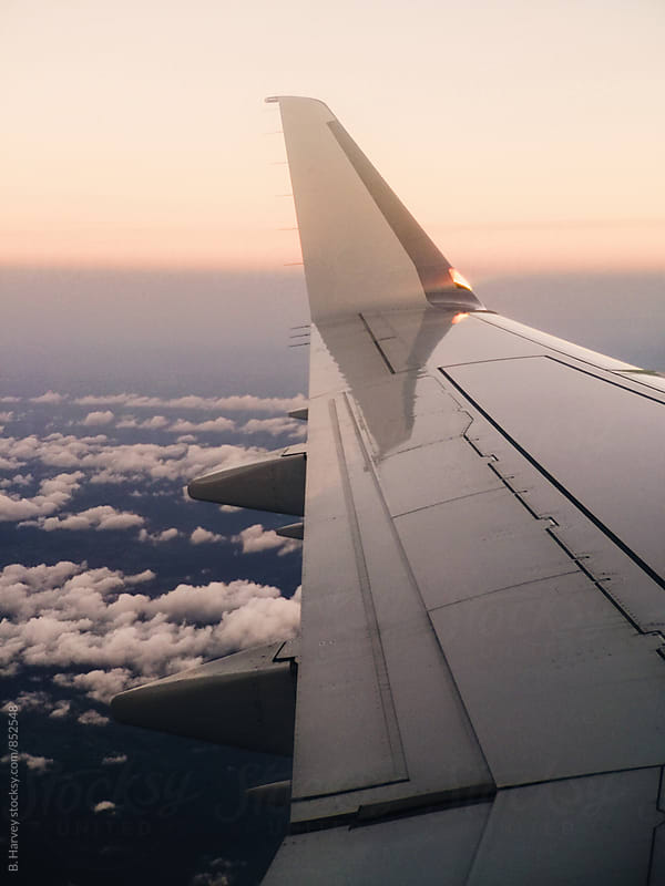 Airplane Wing at Sunset by B. Harvey for Stocksy United