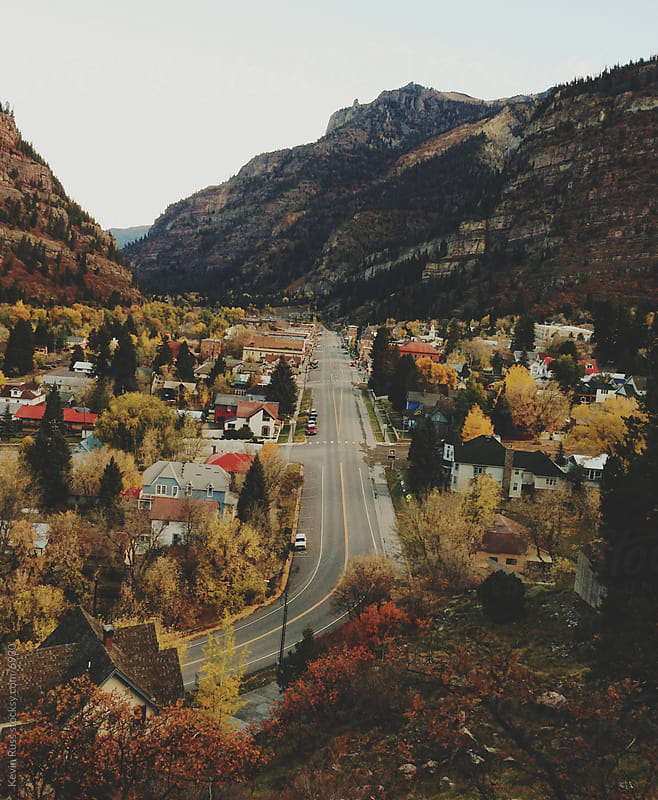 Small Mountain Town in the Fall by Kevin Russ for Stocksy United