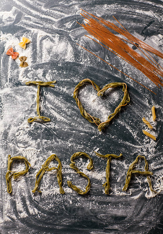 Letters made of pasta. by Mosuno for Stocksy United