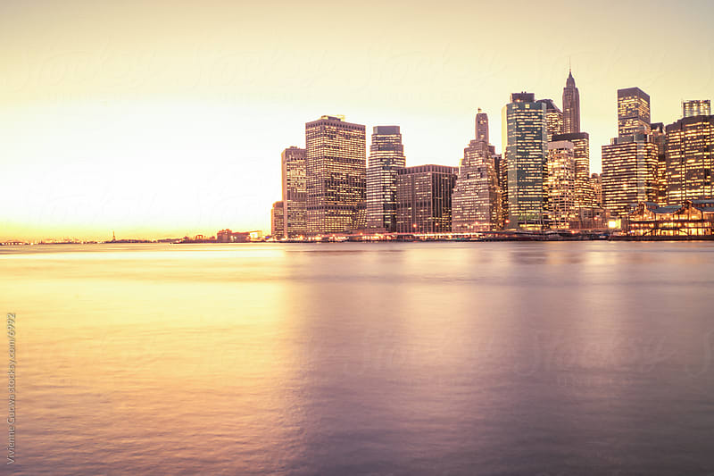 New York City Skyline at Sunset - Lower Manhattan Skyscrapers by Vivienne Gucwa for Stocksy United