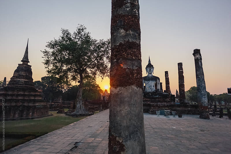 Ancient Buddhist temple at sunset by michela ravasio for Stocksy United