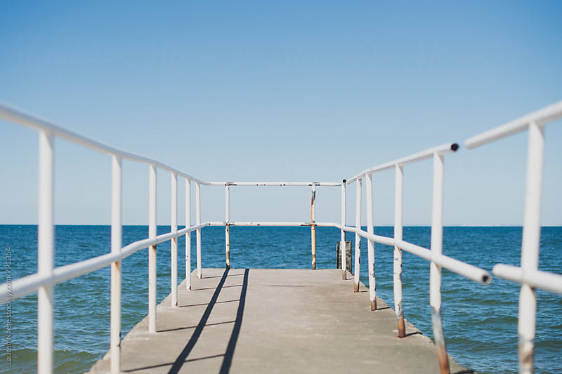 Lookout pier over the bay by Lauren Naefe for Stocksy United