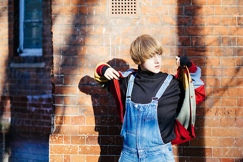 Young Woman Wearing a Jean Overall  by HEX . for Stocksy United