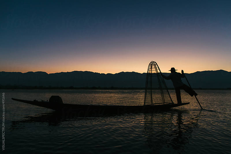 Traditional Early-Morning Fishing on Lake Inle, Myanmar by VISUALSPECTRUM for Stocksy United