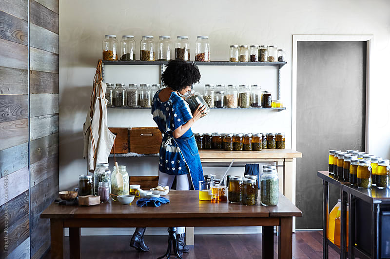 Millennial African American Woman Maker in Her Studio by Trinette Reed for Stocksy United
