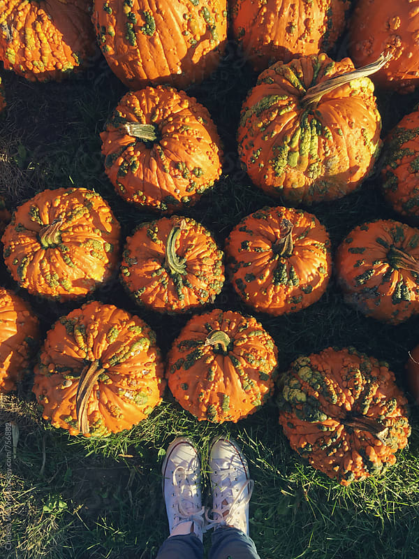 A pumpkin and feet by Chelsea Victoria for Stocksy United
