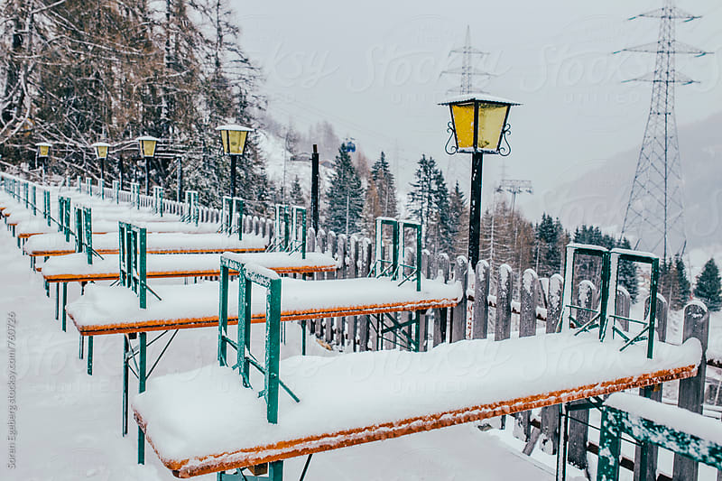 Snow covered mountain restaurant covered in winter snow by Søren Egeberg Photography for Stocksy United