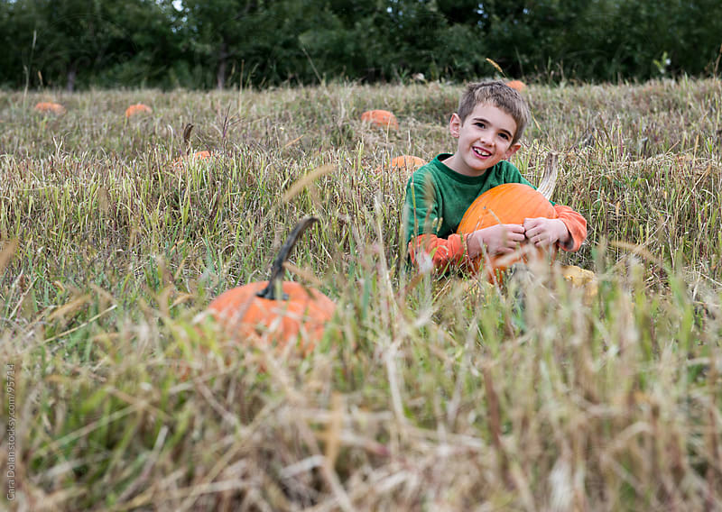 Smiling boy sits in a field in autumn with a pumpkin on his lap by Cara Dolan for Stocksy United