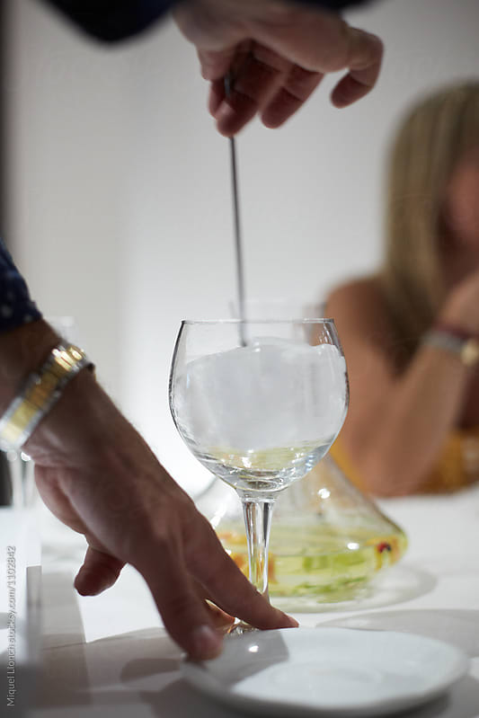 Stirring the cocktail for an alcohol drink