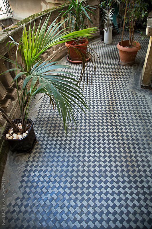tile balcony floor background by Sonja Lekovic for Stocksy United