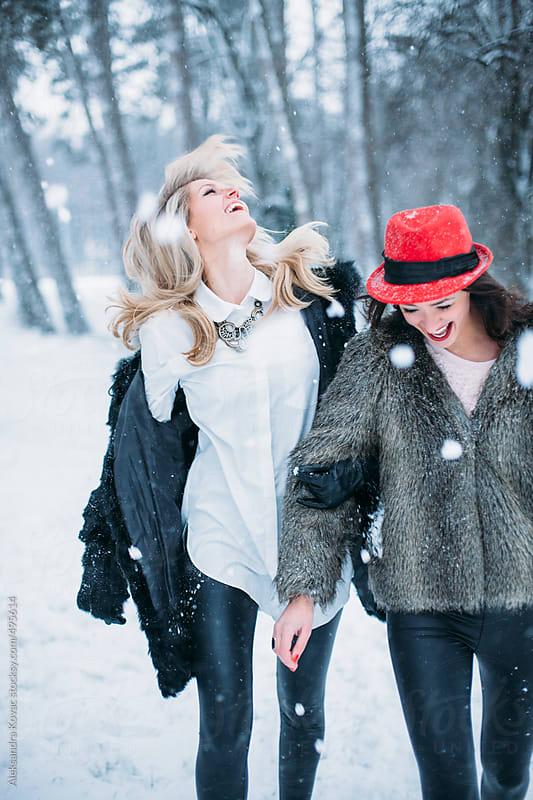 Girlfriends on a Winter Snow Day by Aleksandra Kovac for Stocksy United