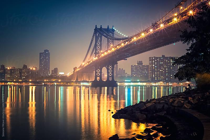 Manhattan Bridge by night, New York City by GIC for Stocksy United