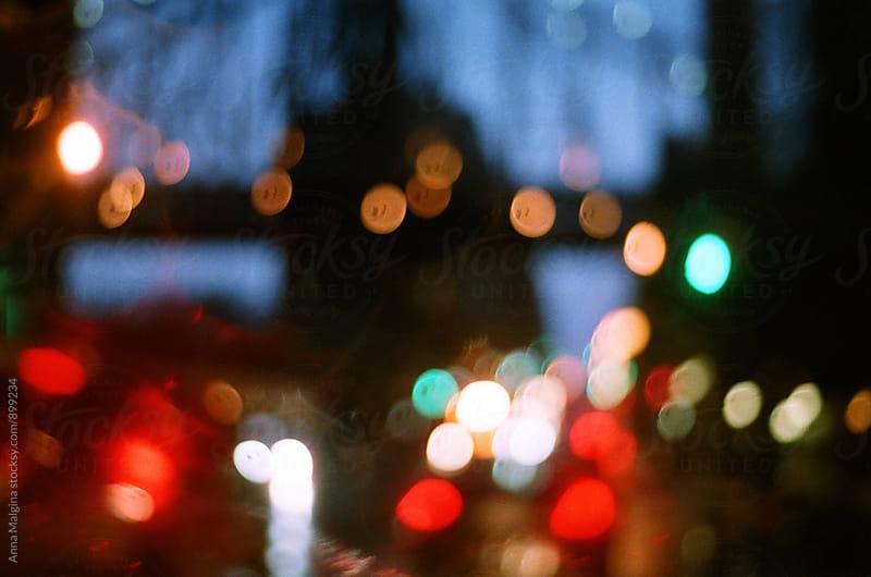 A film photo of NY bridge at night by Anna Malgina for Stocksy United