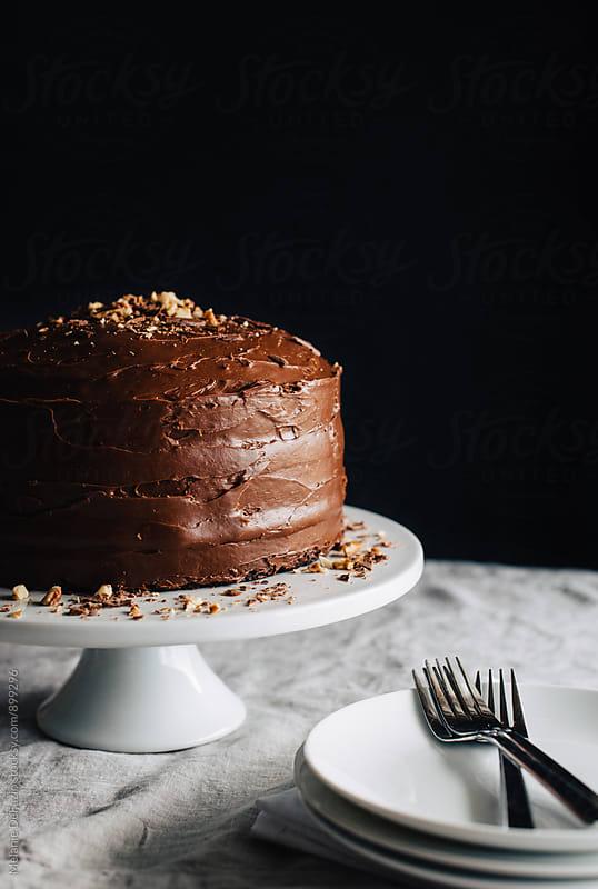 Chocolate cake by Melanie DeFazio for Stocksy United