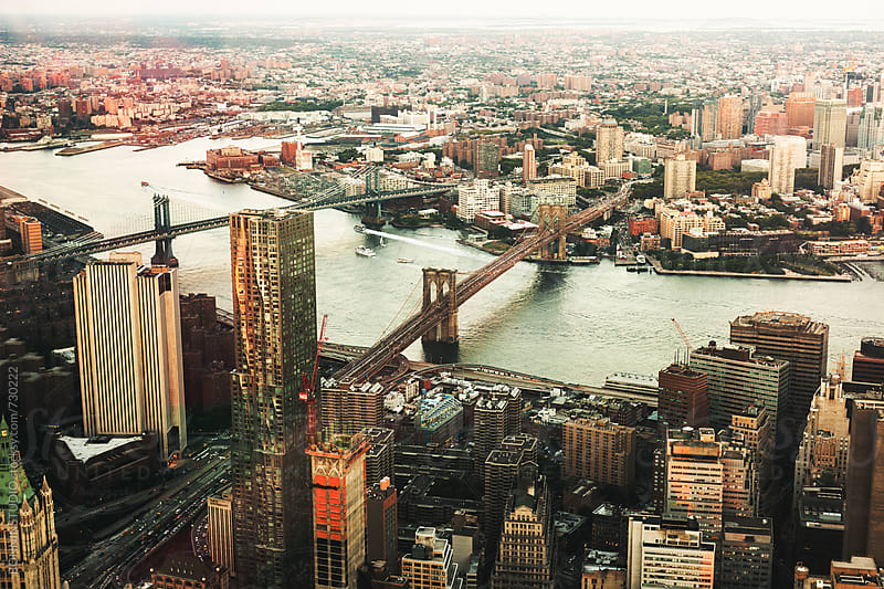 Aerial view of New York city. by BONNINSTUDIO for Stocksy United