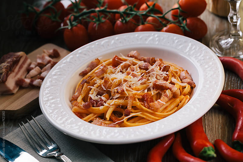 Spaghetti amatriciana by Davide Illini for Stocksy United
