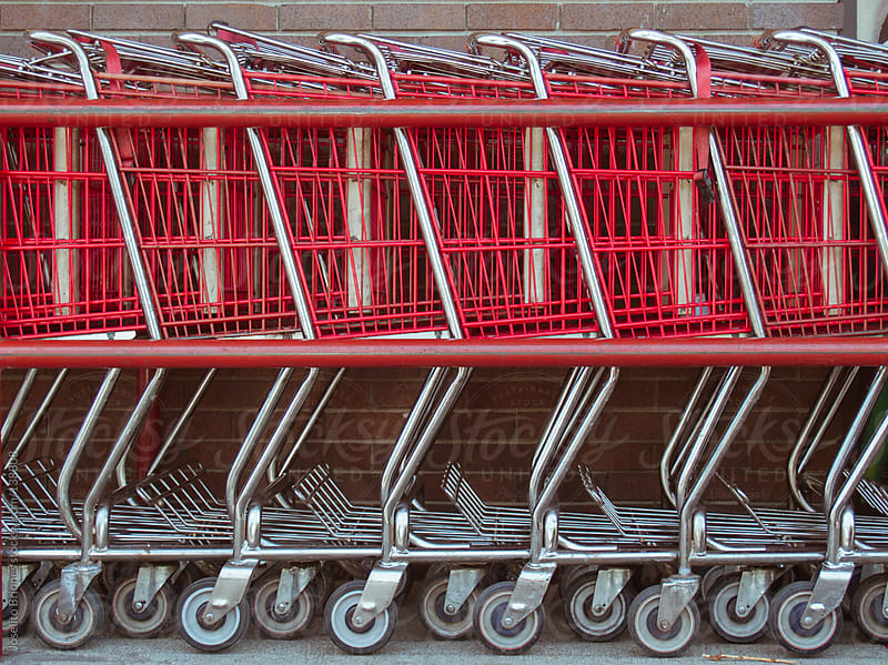 Shopping Carts as Background Pattern for Business and Economy by Joselito Briones for Stocksy United
