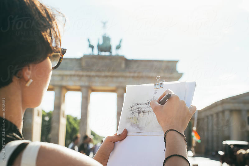 Closeup of Young Artist Drawing Berlin's Brandenburg Gate by Julien L. Balmer for Stocksy United