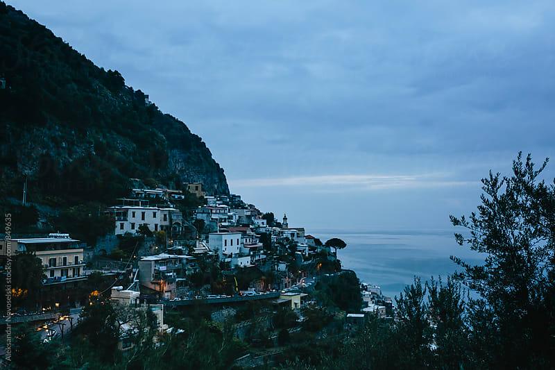 Dusk at the small town of Positano, Italy by Aleksandar Novoselski for Stocksy United