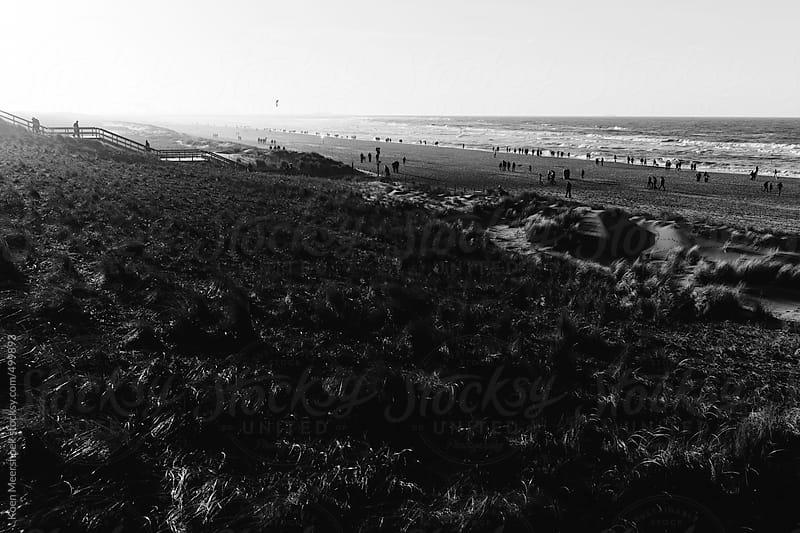 Crowded beach on a sunny winter afternoon. by Koen Meershoek for Stocksy United