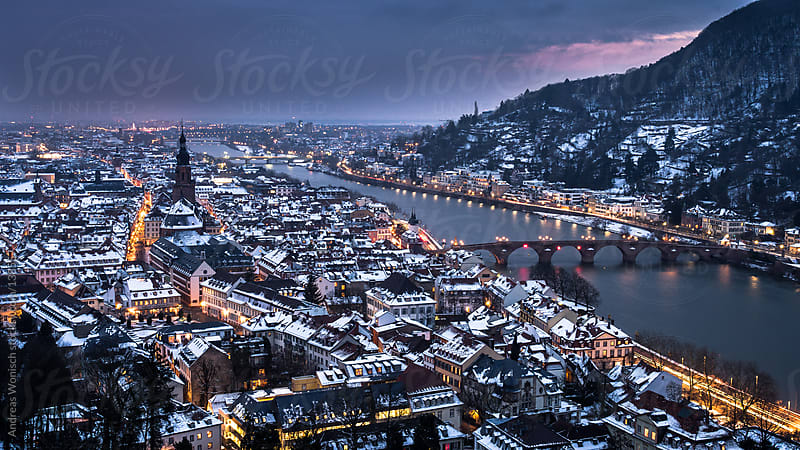 Heidelberg during Winter Time in the Evening by Andreas Wonisch for Stocksy United