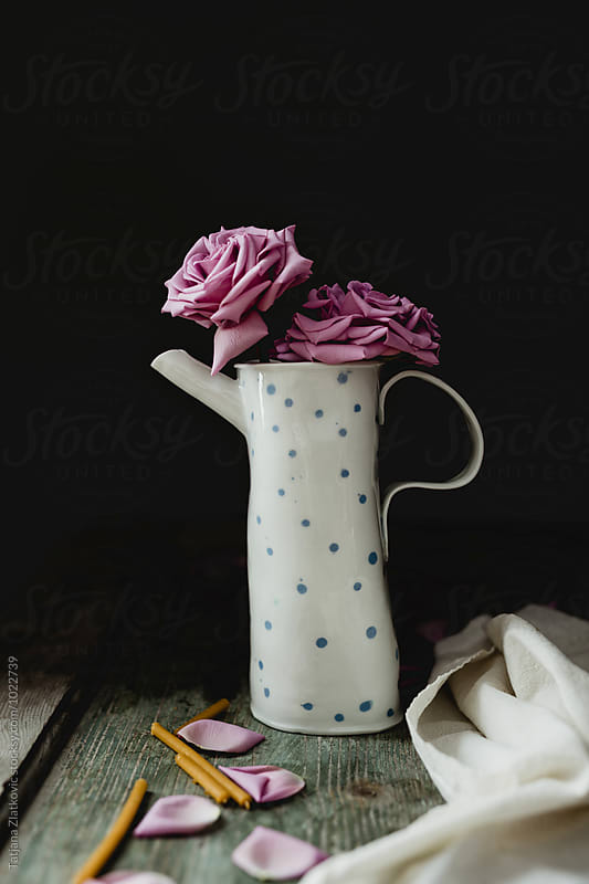 Teapot with pink roses by Tatjana Zlatkovic for Stocksy United