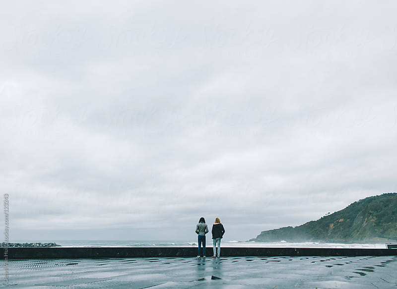 Two friends looking over the ocean. by Denni Van Huis for Stocksy United