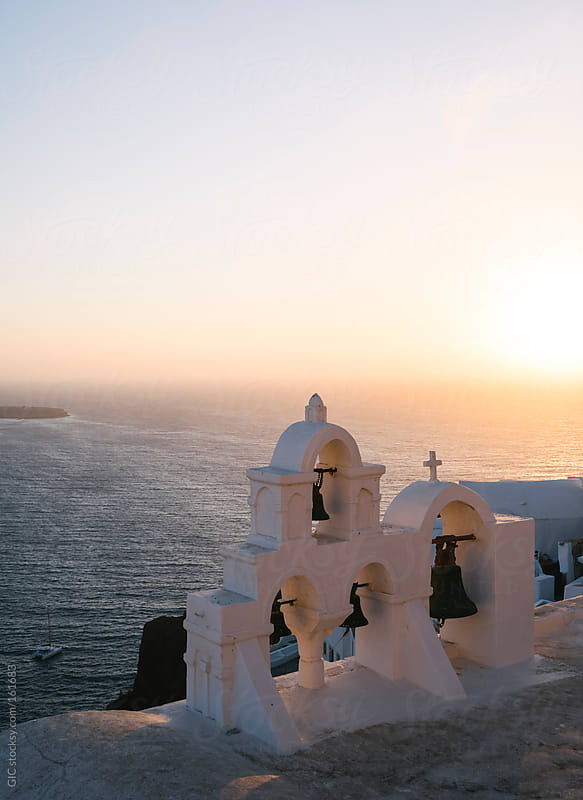 Church in Santorini against sunset by GIC for Stocksy United