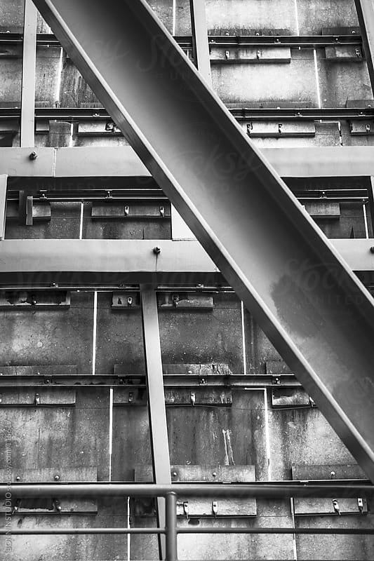 Steel structure on black and white by BONNINSTUDIO for Stocksy United