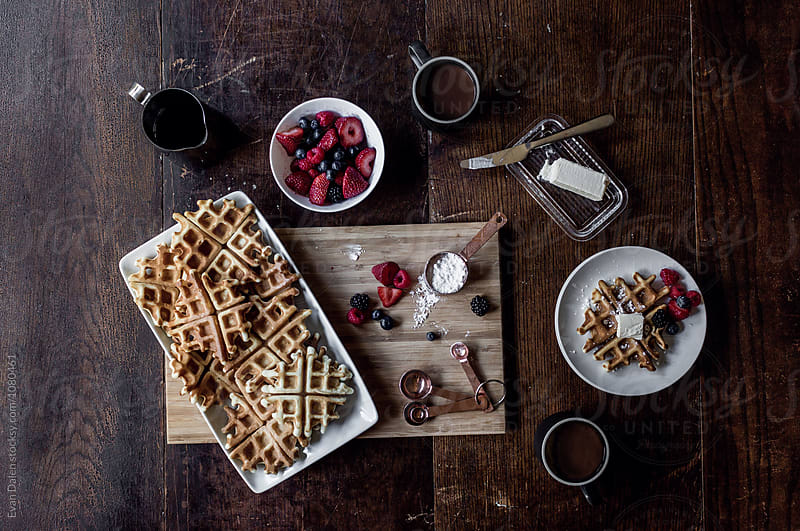 Spread Of Waffle Dish Ingredients by Evan Dalen for Stocksy United