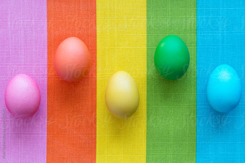 Easter eggs on colorful background by Pixel Stories for Stocksy United