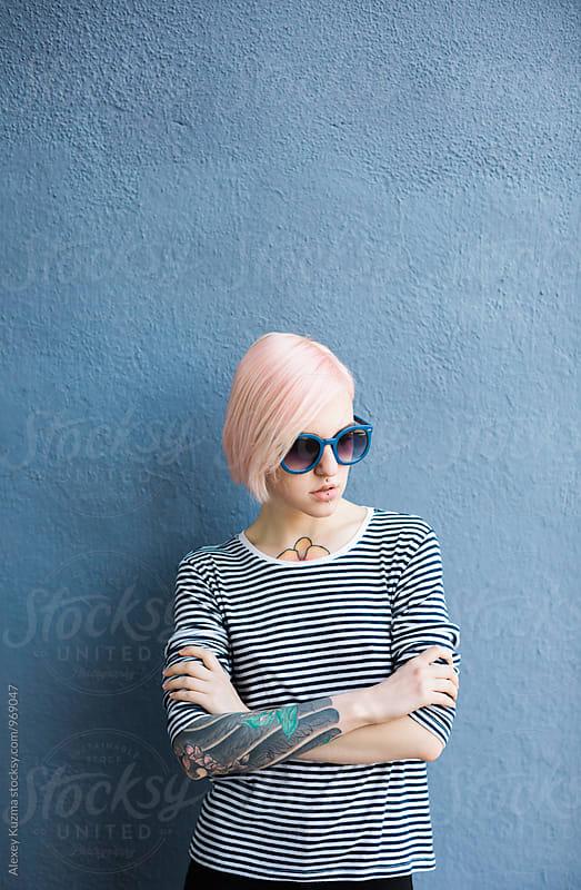 portrait of  avant-garde model by Alexey Kuzma for Stocksy United