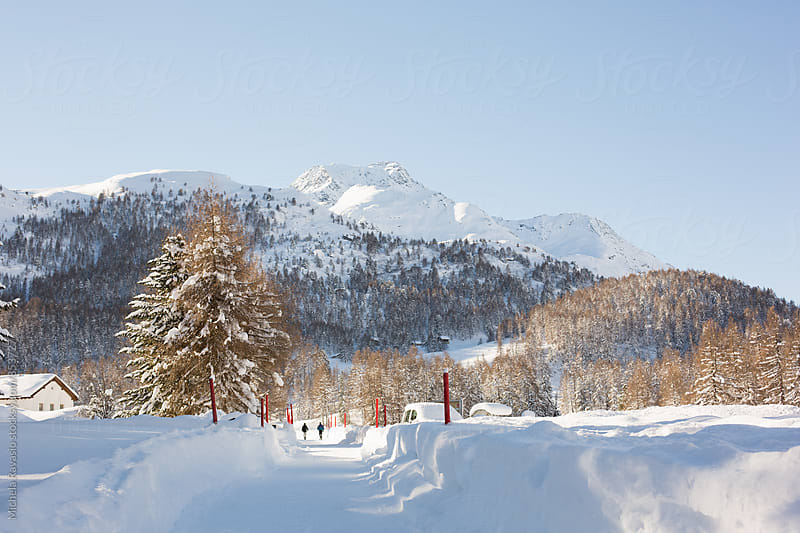 Landscape of snow-covered valley on the European Alps by michela ravasio for Stocksy United