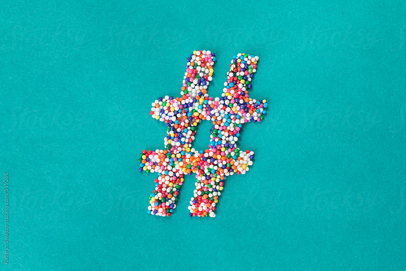 The hashtag/pound symbol built from nonpareils by Kathryn Swayze for Stocksy United