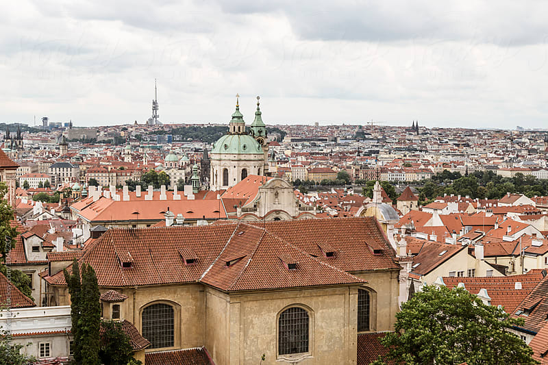 Prague's Malá Strana as seen from the castle hill by Melanie Kintz for Stocksy United